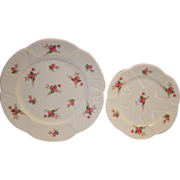 "Shelley Bone China 8"" & 6"" Plates ~ Rose Spray / Bridal Rose Pattern 13545~ Dainty Shape ~ Shelley England 1940-1966"