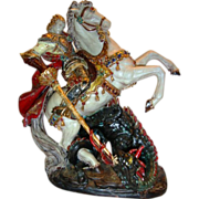 "Fabulous Terracotta sculpture of St. George killing the dragon ~ 17"" high ~ signed by Prof. Eugenio Pattarino, Mold# 408 (Florence Italy) Ca. 1930"