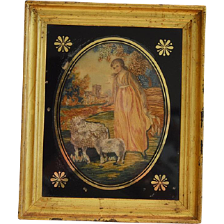 Lovely Georgian period silk and wool needlework art. Mixed techniques of ink, silk, wool and paint. Circa 1790 - 1810.