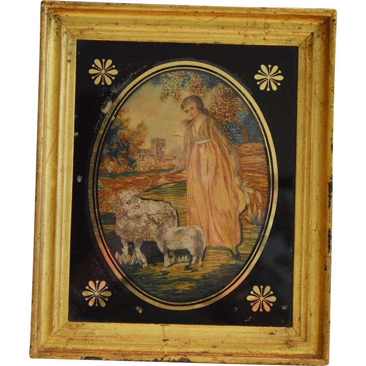 Lovely Georgian period silk and wool needlepoint art. Mixed techniques of ink, silk, wool and paint. Circa 1790 - 1810.