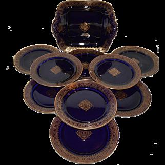 Cobalt Cake Plate & 9 Dessert Plates ~French Faience Cobalt & Gold ~ Utzschneider & Co Sarreguemines France 1889 -1892