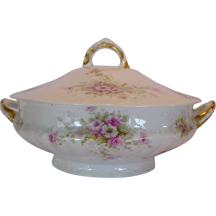 Elegant Limoges Porcelain ~ Soup Tureen with Pink & White Flowers ~ Theodore Haviland 1903