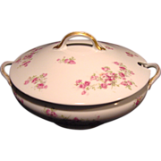 50% OFF!  Wonderful Large Round Limoges Porcelain Soup Tureen, Decorated with  Dark & Light Pink Roses ~ GDA - Gerard Dufraisseix Morel / CF Haviland  1900-1941