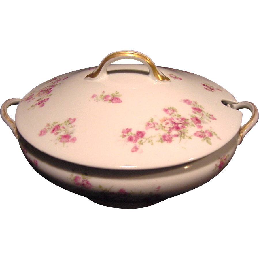 Wonderful Large Round Limoges Porcelain Soup Tureen, Decorated with  Dark & Light Pink Roses ~ GDA - Gerard Dufraisseix Morel / CF Haviland  1900-1941