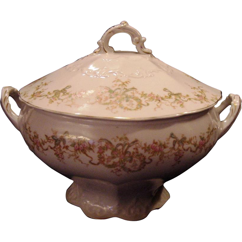 50% OFF!  Exceptional Porcelain Soup Tureen ~ Factory Decorated with Pink Enamel Flowers ~ LAMBERTON WORKS - ca 1893 - 1900