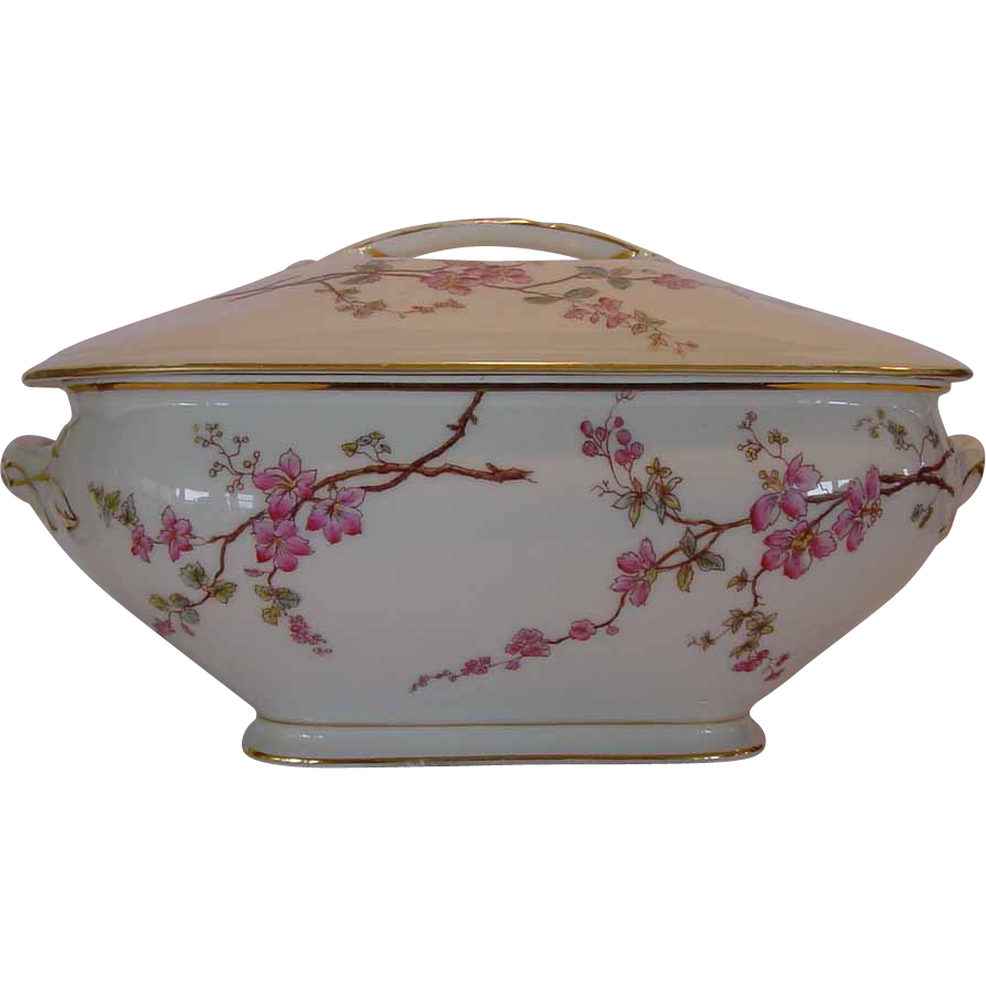 50% OFF!  Large Limoges Porcelain Lidded Soup Tureen 1884 MARGUERITE Design Decorated with Pink Apple Blossoms ~ TRESSEMANN & VOGT (T & V)