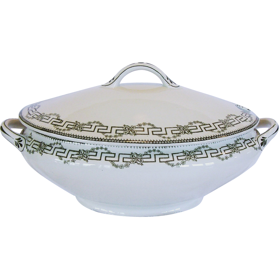 50% OFF!  Wonderful Old Ironstone Tureen ~ Decorated with Deep Olive Green Greek Key, Flowers & Vines ~ Florence Pattern ~  Furnivals Limited ~ 1907