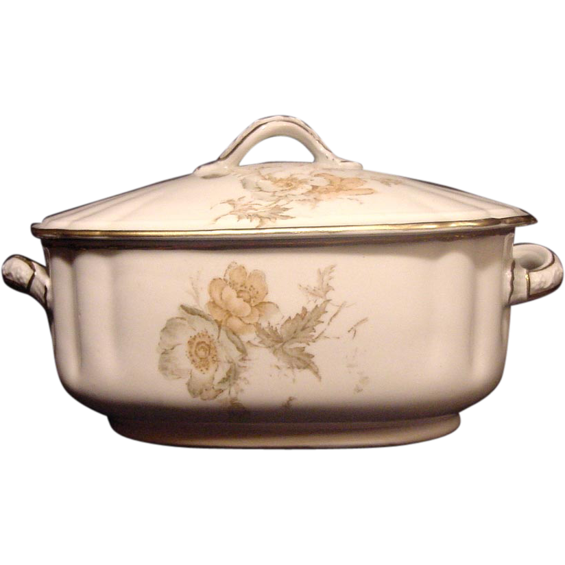 Nice Old Wedgwood Sauce Tureen ~ Decorated with Green, White & Orange Poppy Transfers ~ Wedgewood & CO 1860 -1900