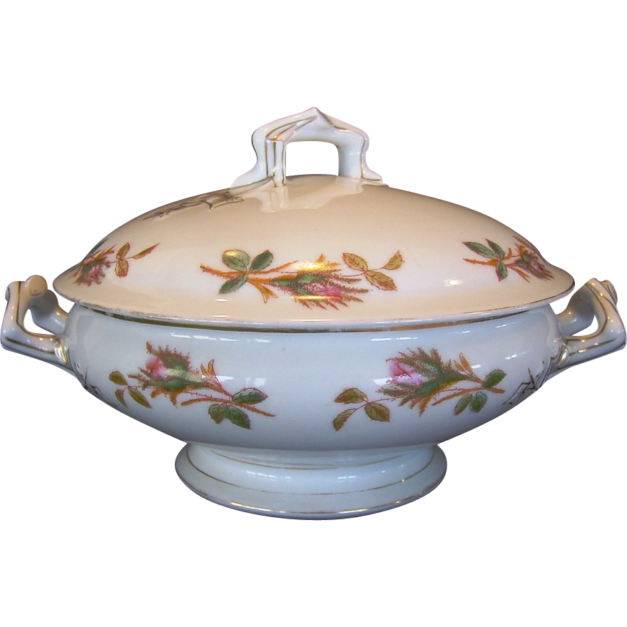 50% OFF!  Awesome Moss Rose Pattern ~ Limoges Porcelain ~ Covered Dish / Tureen ~ Delinieres & Co( D&Co ) / Tressemann & Vogt (T&V ) ca.1879-1893