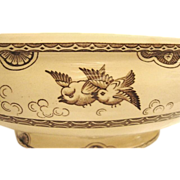 Amazing English Earthenware Tureen / Serving Bowl ~ Aesthetic Brown Transfers of Birds in Oriental design ~ William Davenport & Co Aug 1868