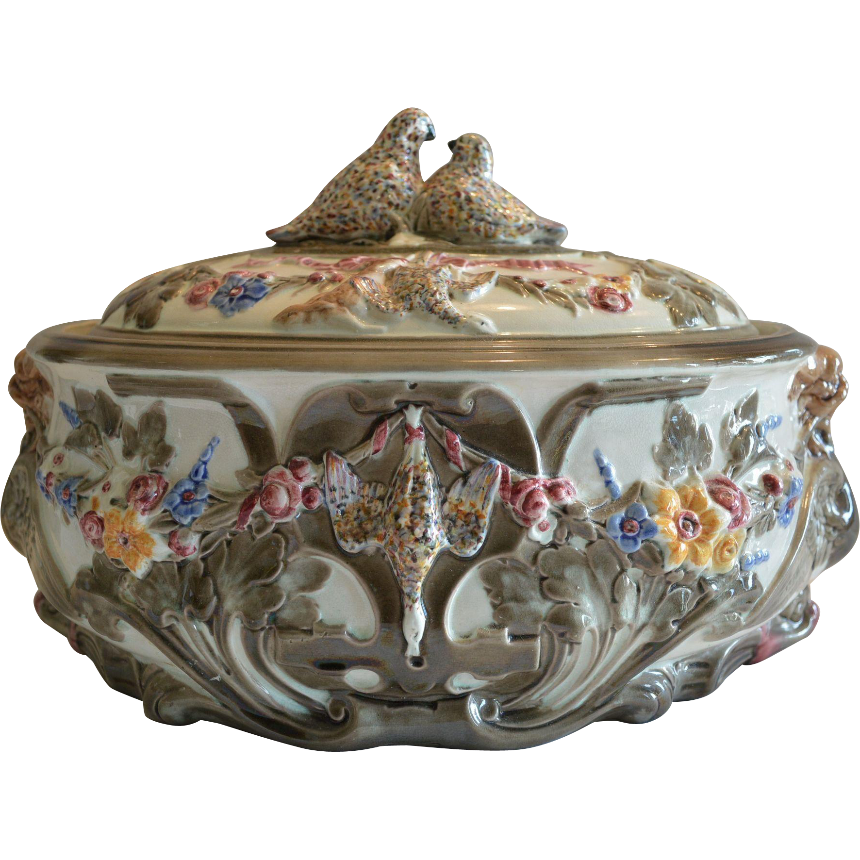 English Majolica Game Pie Tureen ~  Decorated with Game, Griffin & Dolphin ~ Wedgwood ~ Tunstall England ca 1870