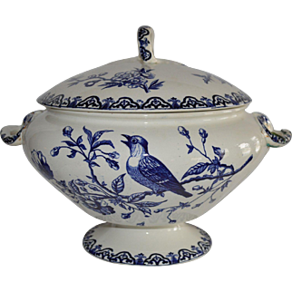 Tureen with Lid ~ French Faience ~ Japonais Pattern ~Blue & White Bird Aesthetic ~ Hautin Boulenger Choisy le Roi France 1890-1930
