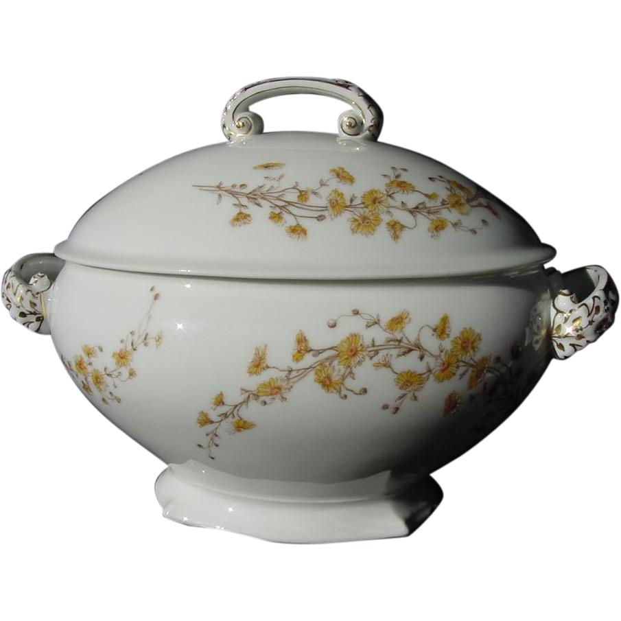 Large Limoges Porcelain Soup Tureen – Yellow Dainty Flowers Accented with White Paint –  Rare T & V Mark ~D & C Limoges – 1907-1917  T & V Limoges 1884