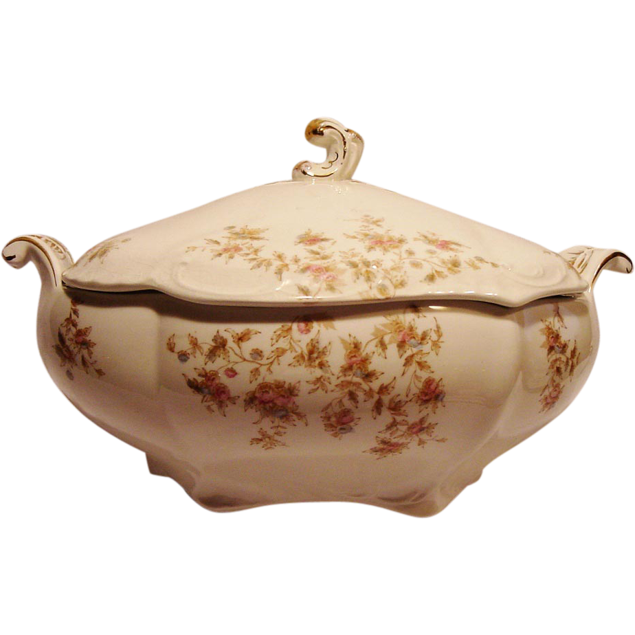 50% OFF!  Beautiful Old Semi – Porcelain ~ Soup Tureen with Blue & Pink Flowers ~ Johnson Brothers 1900+