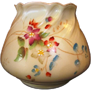 Gorgeous English Squat Vase / Dish~ Hand Painted with Magenta and Blue Flowers ~ 958 ~ Royal Worcester of England 1912