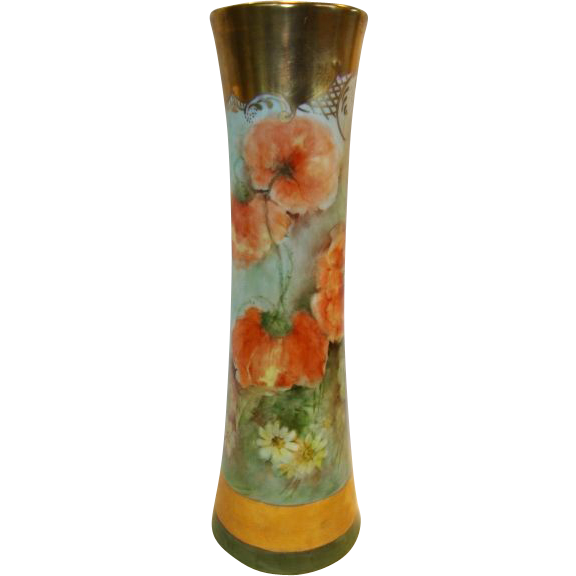 Awesome Austrian Porcelain Vase ~ Hand painted with Orange Poppies and Daisies ~ Signed L. Banzhaf  1920'S