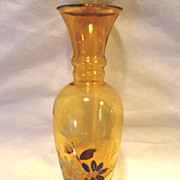 Attractive Amber Glass Bud Vase ~ Coralene White, Blue and Pink Flowers