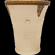 Stunning  Satin Glass Vase with 24K Gold Plated Ormolu Collar 1920's