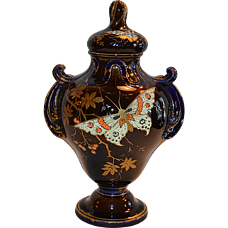 "Faience Covered Urn / Vase ~11"" Tall ~ Brown and Cobalt ~ Japanesque Dragonfly / Butterfly Coralene ~ Hautin & Boulanger (Or Boulenger) - H.B. & Cie Choisy Le Roi FRANCE 1836-1930"