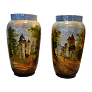 "Exquisite Pair of large 12"" Faience Vases ~ Barbotine Slip ~ Decorated with Mountain Village Scenes ~Theodore LeFront – Fontainebleau France 1835 – 1893"
