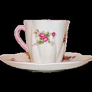 Shelley Bone China Demitasse & Saucer ~ Rose Spray / Bridal Rose Pattern 13545~ Dainty Shape ~ Shelley England 1940-1966