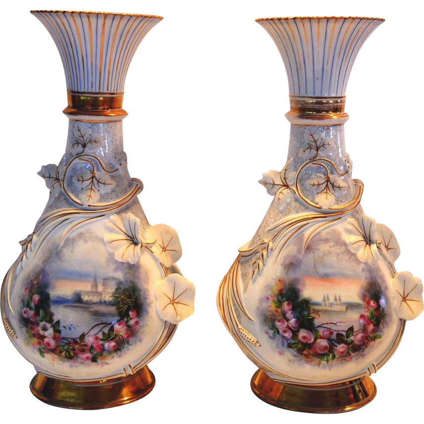 Gorgeous Pair of Old Paris Porcelain Hand Painted Sea Side Scene with Applied Flowers & Vines ~ 1800's