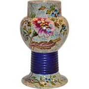 Unique Antique Faience / Majolica Vase ~ Hand Painted with Colorful Flowers ~ Hautin Boulenger & Co Choisy le Roi France 1890-1930