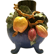 Gorgeous French Barbotine Majolica Pillow Vase ~ Gros Relief of Fruit ~ Edouardo Gilles ~ Choisy le Roi France 1868-1930