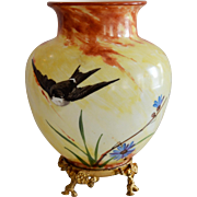 Glass Vase ~ Gold Footed Stand ~ Hand Painted with Swallows and Blue Flowers