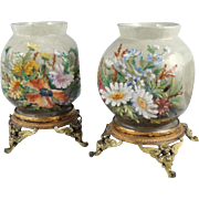 Superb Pair of French Faience Vases ~  Floral Art Pottery ~ Ormolu  Mounted  ~ Theodore Lefront ~ Fontainebleau France 1860-1884