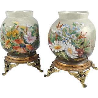 REDUCED! Superb Pair of French Faience Vases ~  Floral Art Pottery ~ Ormolu  Mounted  ~ Theodore Lefront ~ Fontainebleau France 1860-1884