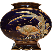 LARGE Majolica Pillow Vase ~ Cobalt With Raised Relief Bird ~ Hautin Boulenger Choisy Le Roi French Majolica PILLOW 1836-1930