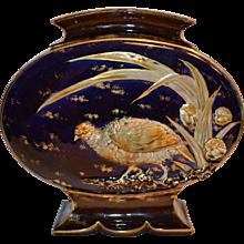 LARGE Majolica Pillow Vase ~ Cobalt With Raised Relief Bird ~ Hautin Boulenger Choisy Le Roi French Majolica PILLOW 1836-1930