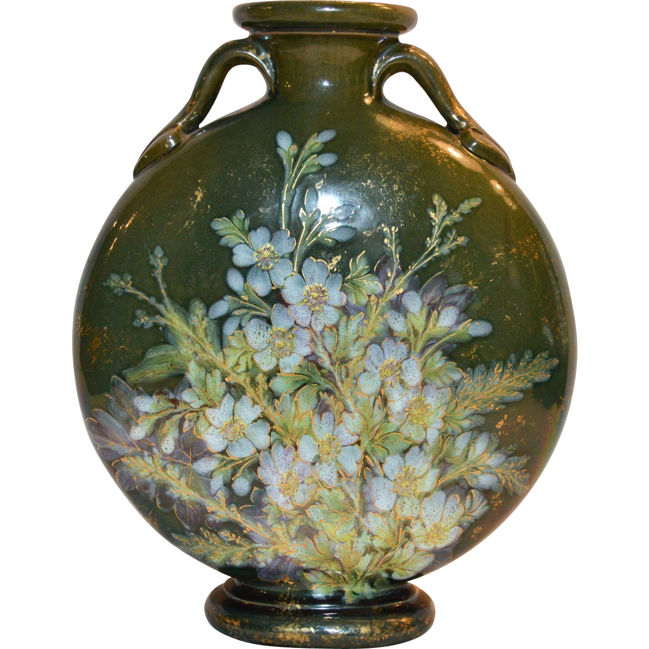 "Majolica Moon Vase ~ 10""~ Terra Cotta ~ Green with Raised Relief Blue Flowers"