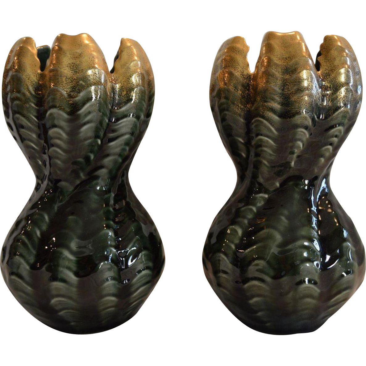 Pair of French Faience Vases ~ Unique Shape ~ Green & Gold ~ Sarreguemines France early 1900's