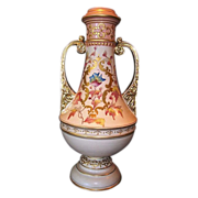 Large English Earthenware vase, 15 3/4'' Hand Painted Colorful Poppies and Gold Accents ~ Hollinshead & Griffiths Blem England 1887-1910