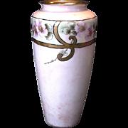 Exquisite Limoges Porcelain Vase ~ Hand Painted with Wild Pink Roses ~ Tressemann & Vogt ( T&V ) 1892-1907