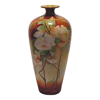 "Breathtaking Limoges Porcelain 13"" Vase Hand Painted with Peach & White Roses ~ Artist Signed ~ Jean Pouyat 1890-1932"