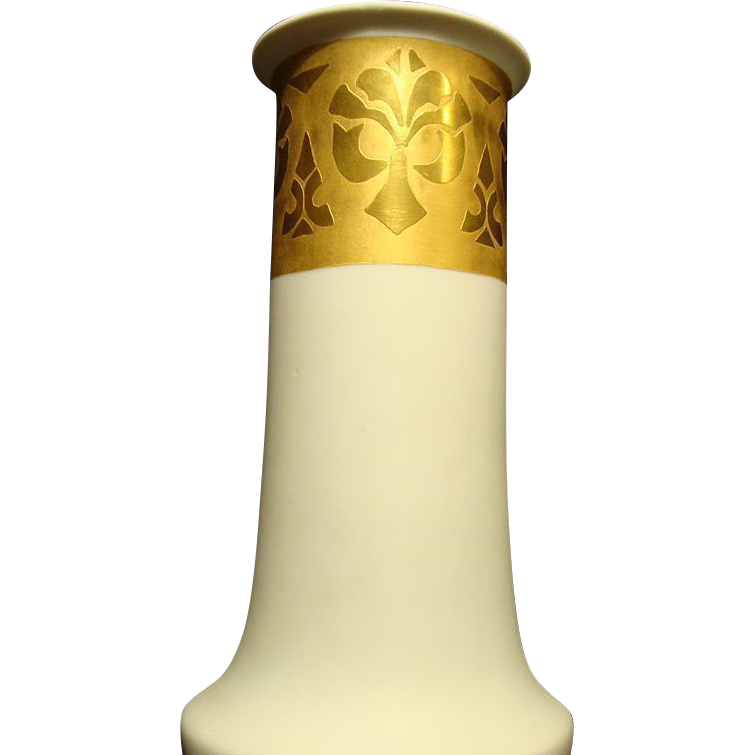 Elegant, Stylish and Large! 11 3/4 '' Porcelain Vase ~ Cream Vellum and Gold Embossed ~ HEINRICH & CO. Selb Bavaria 1896+