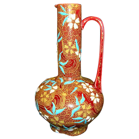 "Rare Museum Quality 134 Yr Old Gien Faience / Majolica Ewer~ 8"" H  ~ Hand Painted Turquoise and White Enamel Flowers ~ Gien 1876"