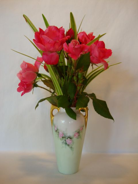 Adorable Little Bavarian Porcelain Vase Hand Painted with Pink Roses ~ Artist signed ~ Bavaria ca early 1900's
