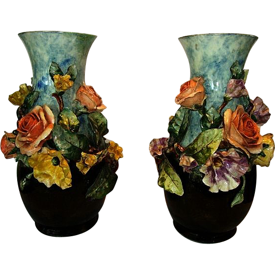 "(2) Large 14""  Barbotine Vases. FMCo (American) ~ Gros relief with Yellow & Salmon Roses, Poppies, foliage. ~ Faience Manufacturing Company, Greenpoint Brooklyn New York 1880-1884"