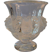 Lalique Crystal Art Glass Dampierre Vase/Bowl Frosted Birds & Vines ~ Alsace, France 1950's