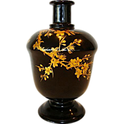 Nice Old Japanese Lacquered Sake bottle / Vase ~ Maki-e Gold lacquer Prunus Tree
