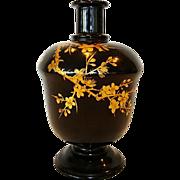 Nice Old Japanese Lacquered Sake bottle / Vase ~ Maki-e Gold lacquer Prunus Tree