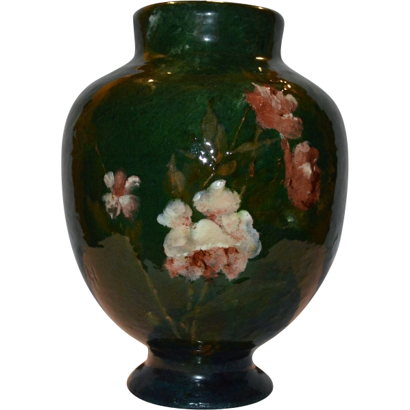 "Rare Haviland & Co terra cotta pottery vase. Impressionist Art Pottery by Auteuil Studio,Paris. Signed ""JH"", Jules Habert-Dys, 1876 to 1882"