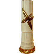 Gorgeous English Worcester Porcelain Bud Vase ~ Ivory with Gold Bamboo Leaf ~ By Royal Worcester of England 1912