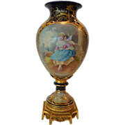 "Magnificent 17"" French Sevres Style Hand Painted Porcelain Vase ~ Cupid & Maiden / Woodland Scene ~ Artist Signed ""Maxant"" ~ Edme Samson & Cie - Samson Ceramics  Paris ~ Sevres, France, Late 1800s"