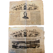 Two (2) Original Civil War Newspapers of Forney's War Press with uncut pages. The issues ...