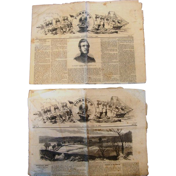 Two (2) Original Civil War Newspapers of Forney's War Press with uncut pages. The issues dates are April 5 and April 12, 1862.  Both have illustrations, drawings, eyewitness battle accounts, editorials, advertisements and troop counts.